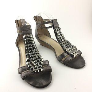 Enzo Angiolini Eakilly Gray Gladiator Sandals